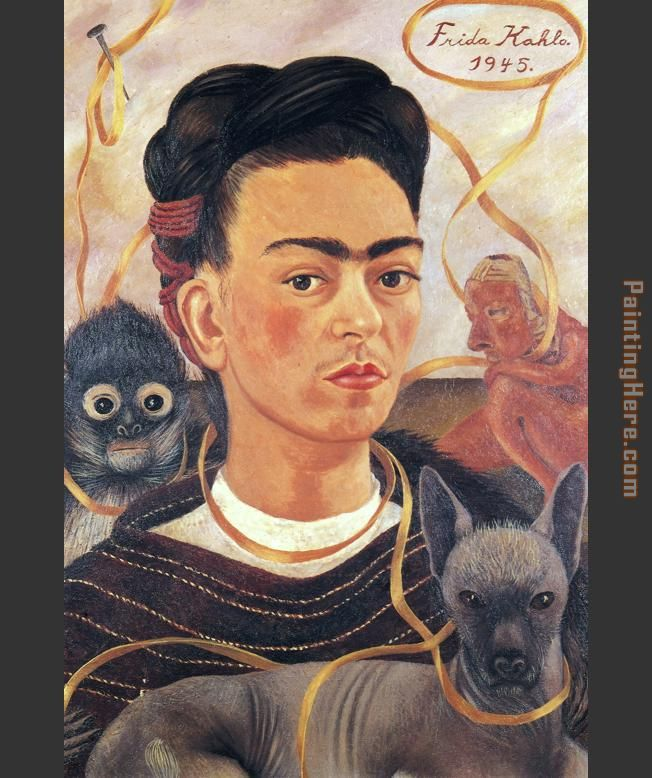 Frida Kahlo Self Portrait with Small Monkey