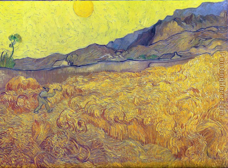 Vincent van Gogh Wheat Fields with Reaper at Sunrise