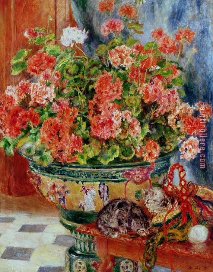 Pierre Auguste Renoir Geraniums and Cats