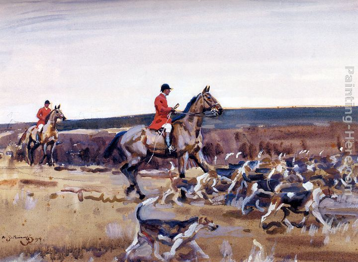 Sir Alfred James Munnings Setting Off Huntsman And Hounds